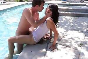 Randy stud licks Asian babe Dana Vespoli's pussy by the pool then takes her inside to fuck