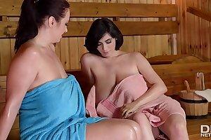 Luscious lesbians Joanna Bliss & Luna Amor suck each others' big titties