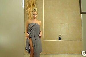 Busty Bombshell Cara Brett Fingers Her Wet Pussy In The Shower