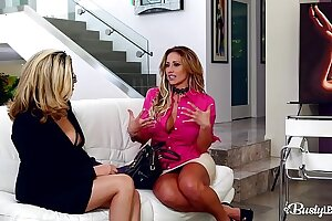 Busty lesbians Eva Notty & Danica Dillon suck their tits & fill their pinks