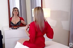 Russian Dominatrix Kendra Star bangs Chessie Kay with strap-on in DP action