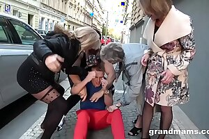 Hardcore foursome with grannies gang