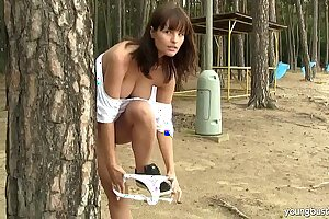 Busty teen Rita masturbate outdoors