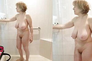Hot body grandma is slippery when wet