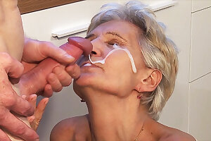 big cum load shot in grandma's eye