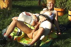 hairy mom has rough outdoor fuck